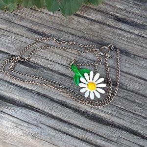 Vintage 1970s daisy enamel necklace